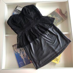 Gently Used Black Mini Dress with Lace Preplum